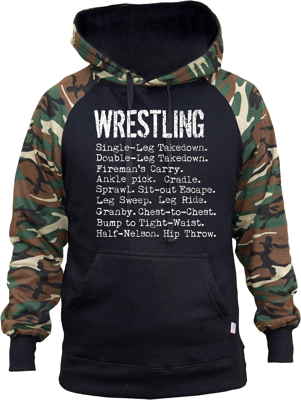 Mens Wrestling Moves Black//Camo Raglan Baseball Hoodie Black