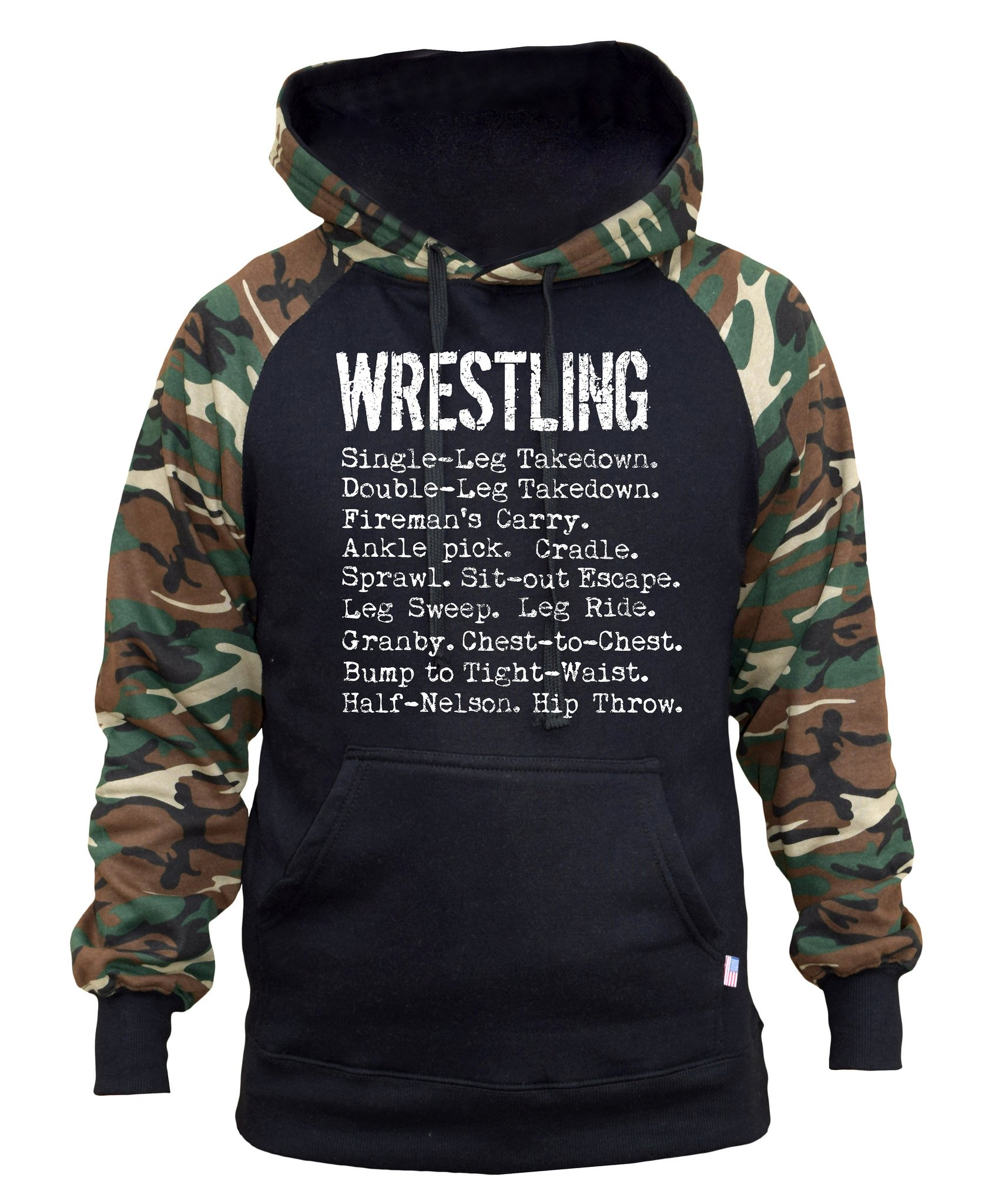Interstate Apparel Men's Wrestling Moves Black/Camo Raglan Baseball Hoodie Medium Black