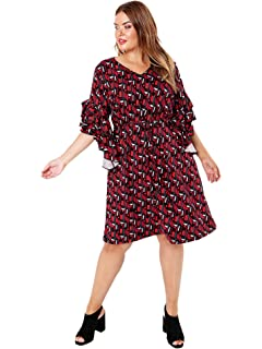 0706c7566a Lovedrobe GB Women s Abstract Print Dress with Frill Sleeves Ladies Plus  Size 16-26