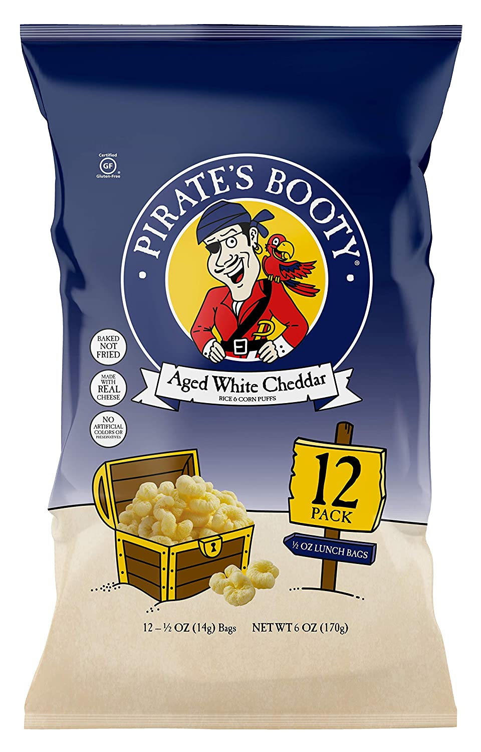 Pirate's Booty Snack Puffs, Aged White Cheddar, 6oz, 0.5 oz- 12 bags