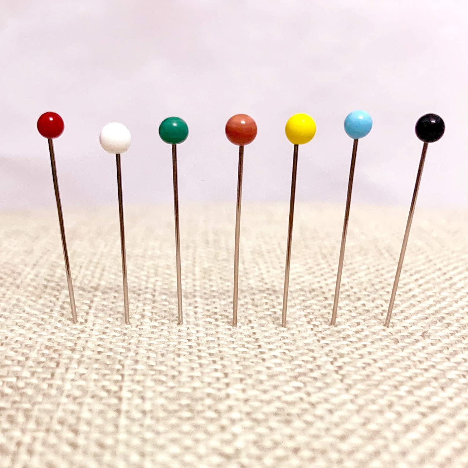 38mm yuanyuanz 500 Pieces Sewing Pins Glass Ball Multicolor Head Pins Straight Quilting Pins with Pearl Heads for Dressmaker Jewelry Decoration