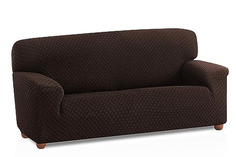 Bartali Funda de sofá elástica Olivia, 50% poliéster, 45% algodón, 5% elastómero, marrón, Tamaño 3 plazas (de 160 a 210 cm).)