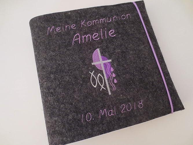 Fotoalbum Kind Taufe Kommunion Firmung Konfirmation Album Name Junge M/ädchen Wollfilz 24,5 cm x 25 cm