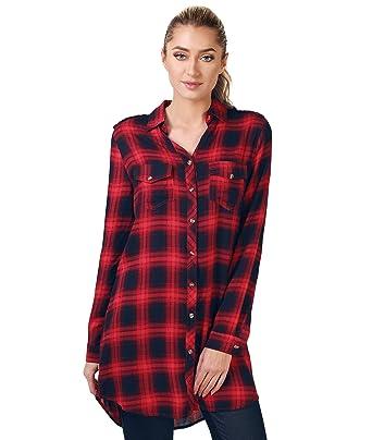 3fcfe54ae53cb Camisa Larga Cuadros Roja Negra Rojo
