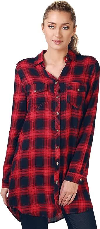 KRISP Camisa Larga Cuadros Roja Negra[Rojo, M]: Amazon.es: Ropa y accesorios