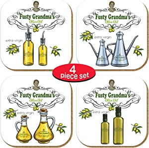 Pictor Gift Coaster for Drinks Set of 4, Perfect to Protect Your Furniture, Desk, Table Absorptive, Home, Kitchen, Bar, Decorative, Metal Pressed with Cork Base, Gift Idea for Olive Oil Lovers