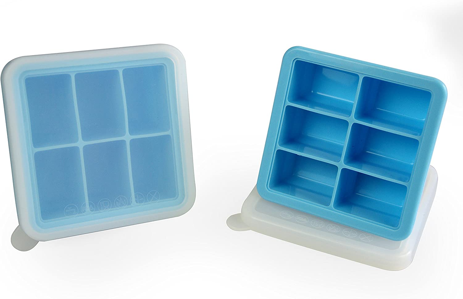 Mirenlife 6 Cube Premium Silicone Ice Cube Tray with Lid