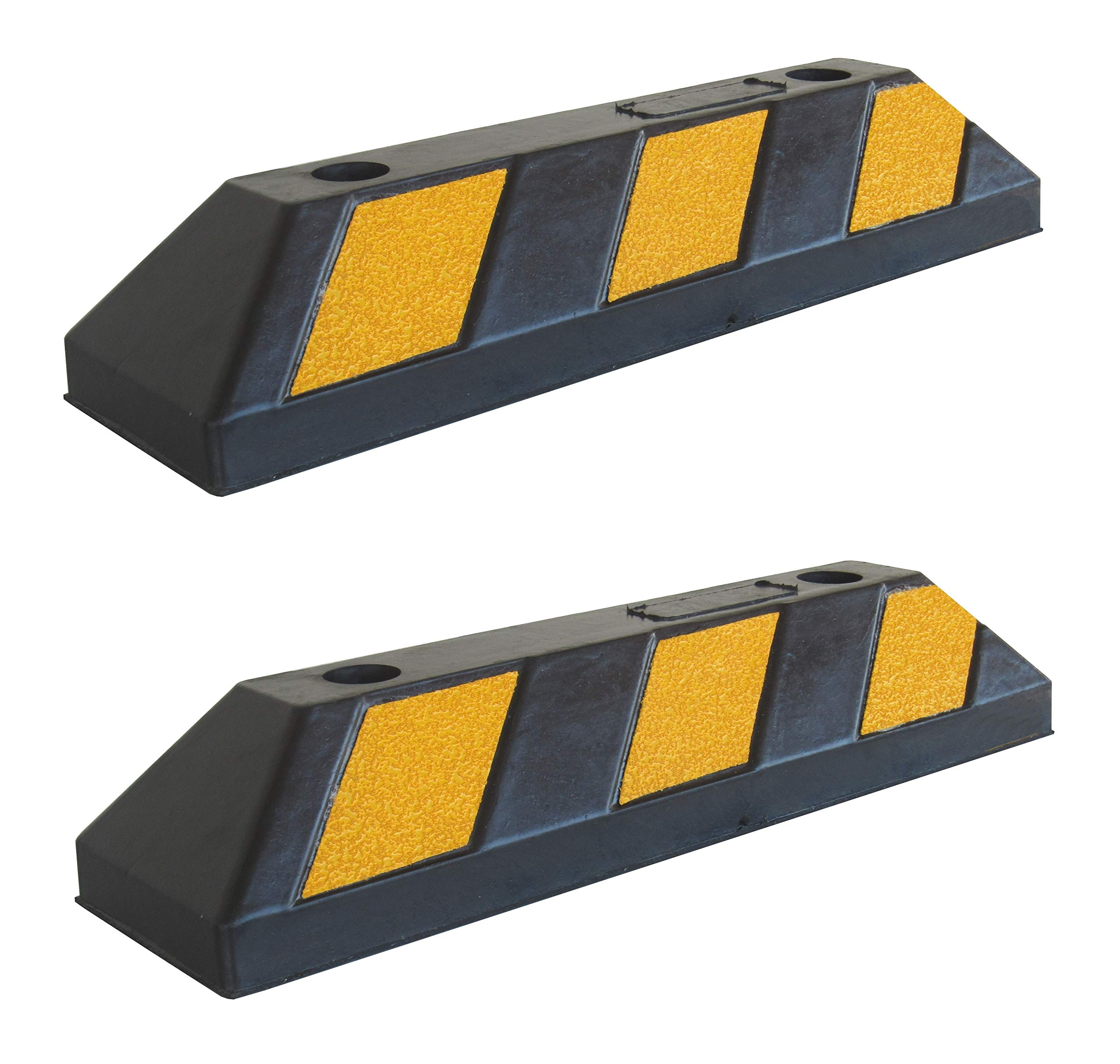 Parking Stopper for Garage Floor, Blocks Car Wheels as Parking Aid and Stops the Tires, acting as Rubber Parking Curbs that Protect Vehicle Bumpers and Garage Walls, 21.6''x5.9''x3.9'' (Pack of 2)