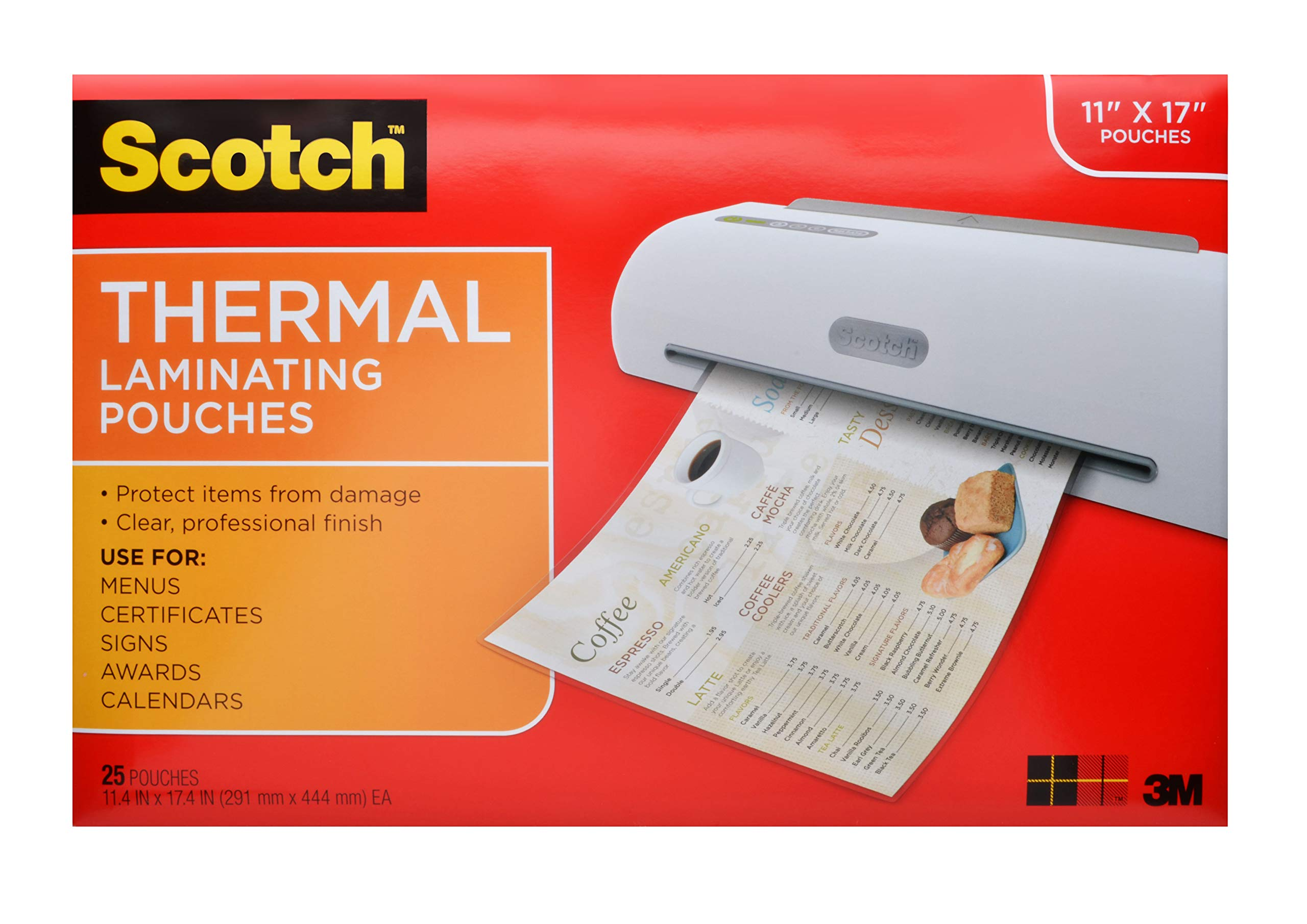Scotch Thermal Laminating Pouches, 11.45 x 17.48-Inches, 25-Pouches (TP3856-25) by Scotch Brand