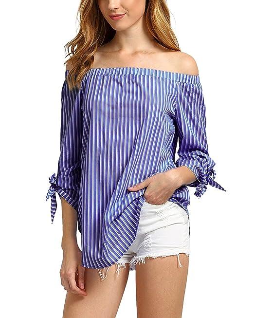 StyleDome Mujer Camiseta Playa Mangas 3/4 Rayas Lazos Sin Tirantes Blusa Hombros Descubiertos Azul Oscuro S