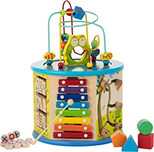KIDDERY TOYS Activity Cube Wooden Center 8-in-1 Educational Toys Best Learning Toys for Boys or Girls {Medium Size} (Blue)