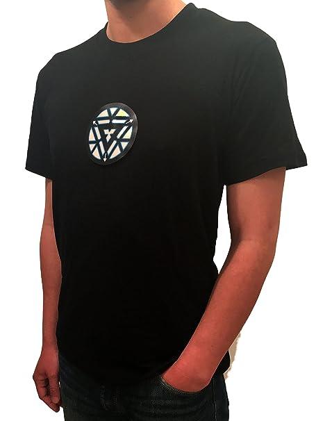 57bf78a6fc602 Iron Man Tony Stark camiseta del LED reactor del arco de sonido  intermitente activado enciende para