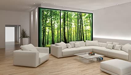 Green Forest Window View Wallpaper Mural Amazon Co Uk Diy Tools