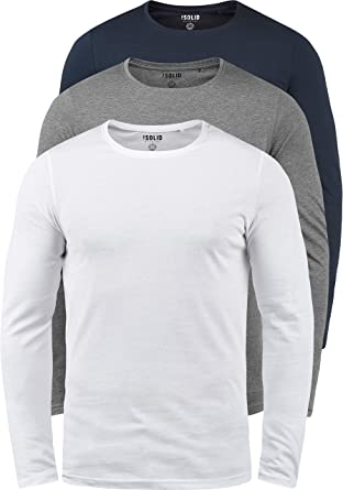 a1c06831 Solid Basal Men's Long Sleeve T-Shirt Top Basic with Crew Neck Made of 100