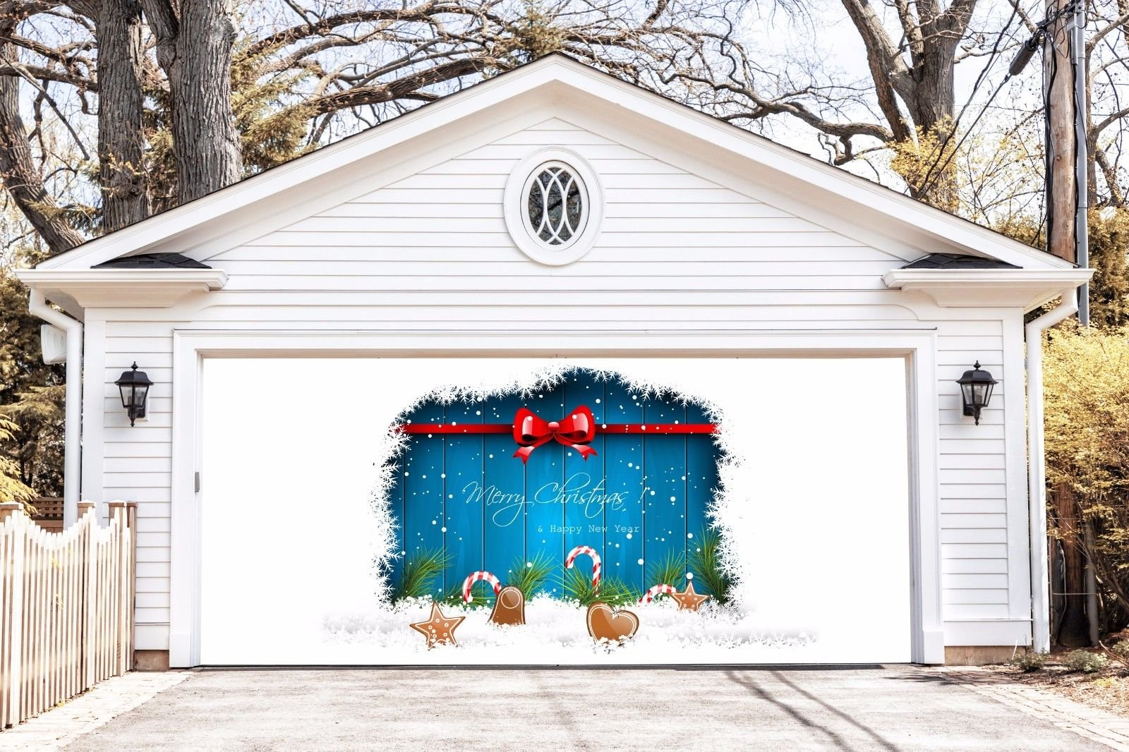 Christmas Banners Outdoor Decorations Garage Door Full Color Covers Holiday Billboard for 2 Car Garage Door Merry Christmas and Happy New Year Decor Murals size 82x188 inches made in the USA DAV48 by WallTattooHome