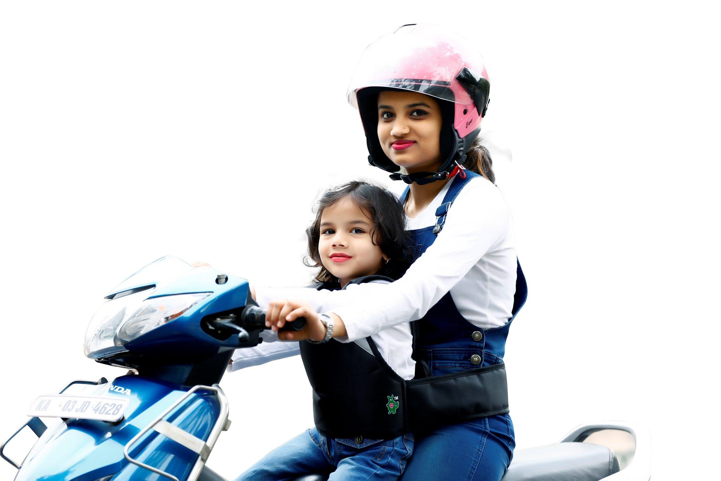 Kidsafe Belt - Two Wheeler Child Safety Belt - Cool Black