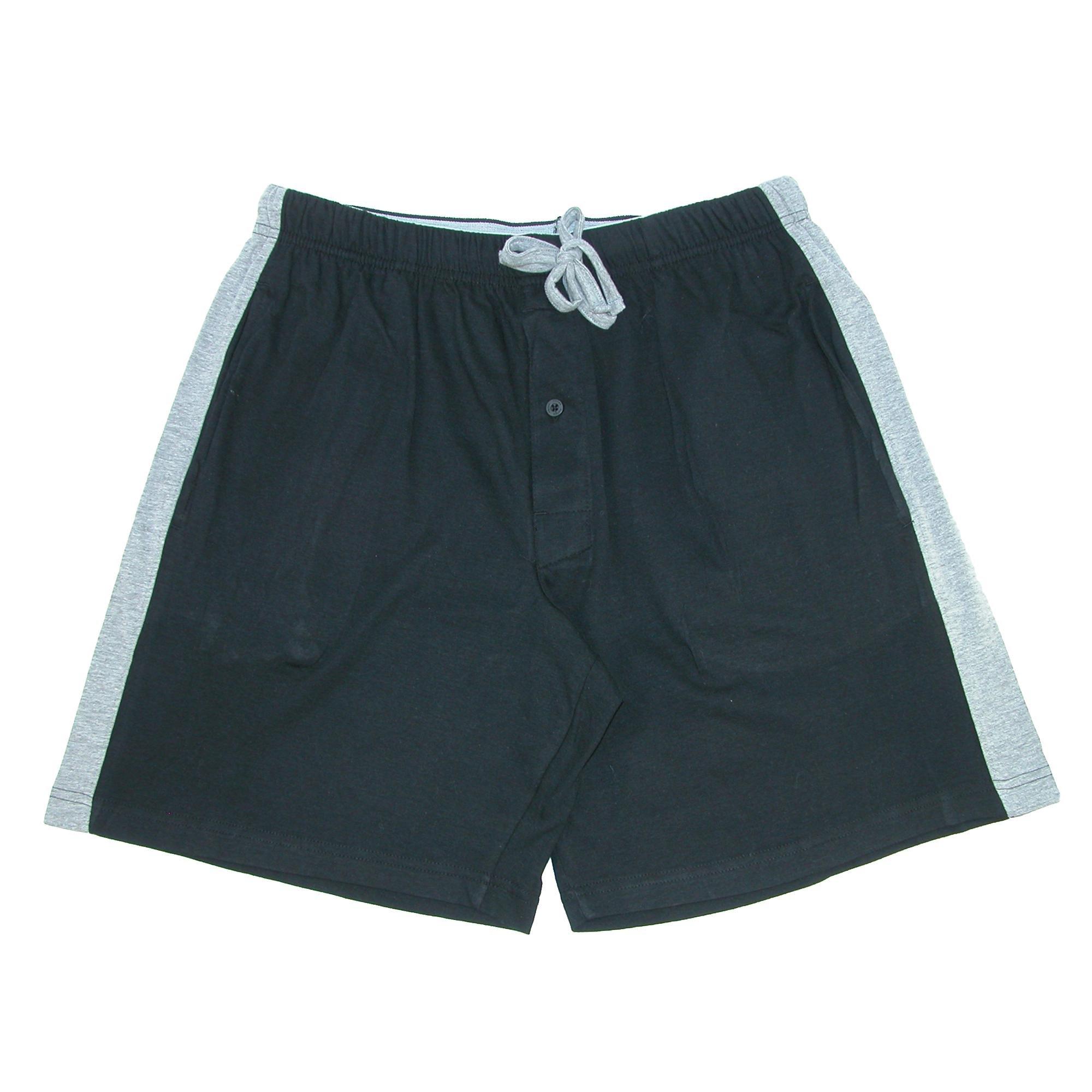 Hanes Men's Knit Pajama Sleep Short with Side Stripe, 2XL, Black