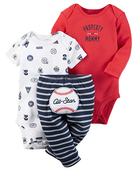 0f18b6ca3119 William Carter Baby Boys  039  3 Piece Take Me Home Set (Baby) - Red All  Star  Amazon.in  Baby