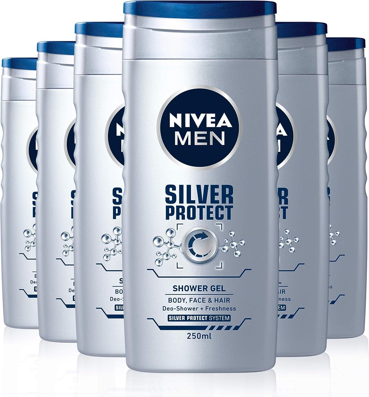 Nivea men - Silver protect, gel de ducha, pack de 6 (6x 250 ml ...