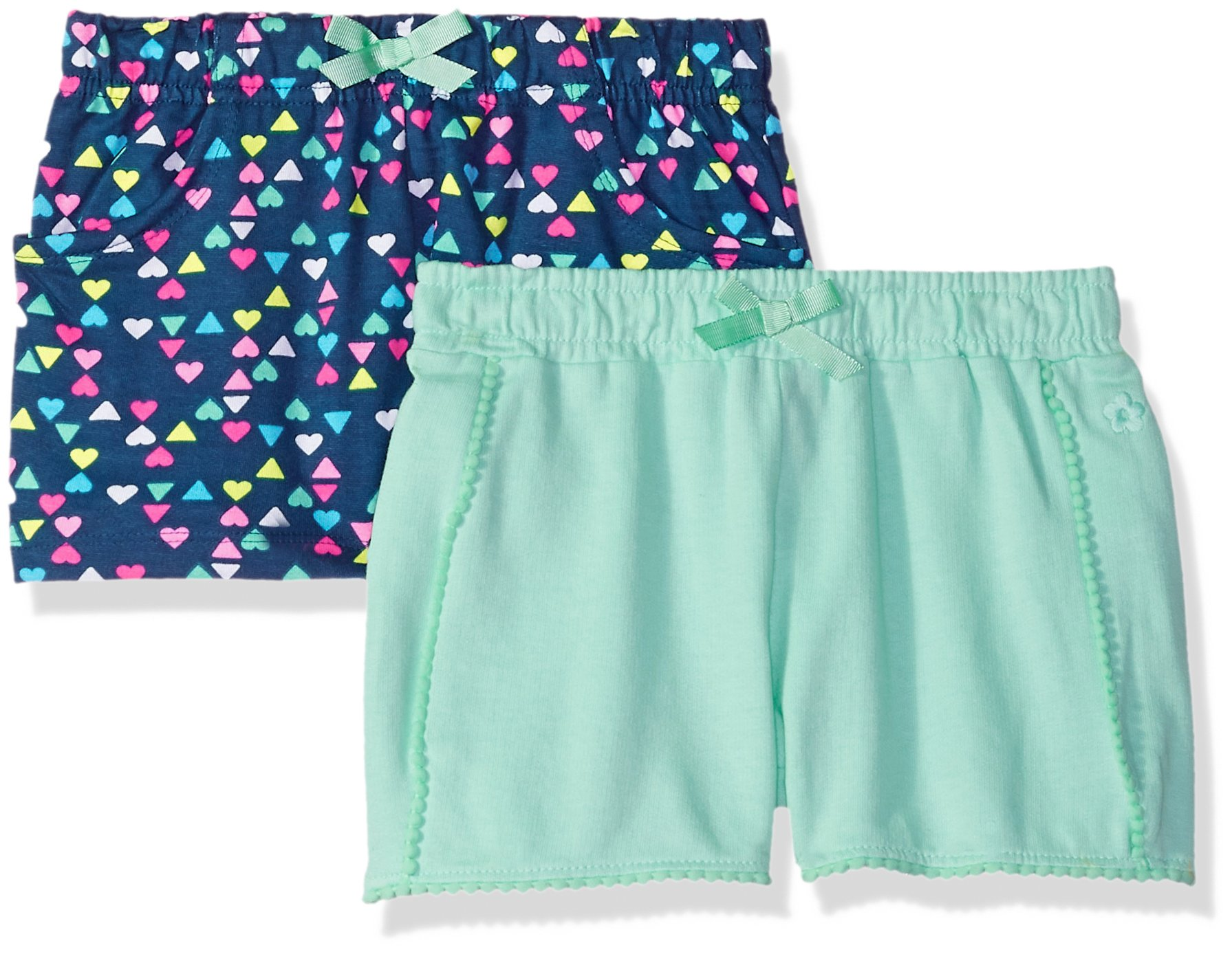 Limited Too Big Girls' 2 Pack Short, Mini Hearts with Solid Mint Multi Print, 7/8