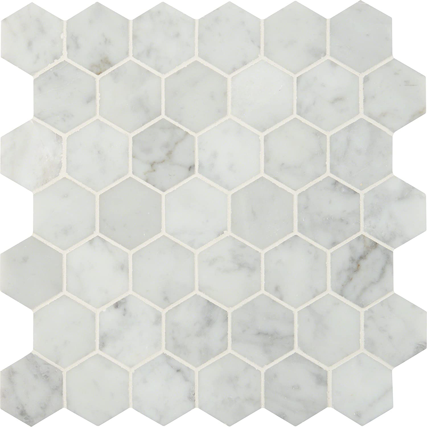 MS International Carrara White Hexagon 30 In. X 30 mm Polished Marble  Mesh-Mounted Mosaic Floor & Wall Tile, (30 sq. ft., 30 pieces per case)