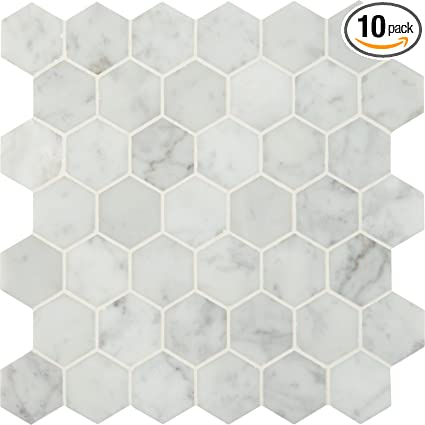M S International Carrara White Hexagon 12 In X 10 Mm Polished