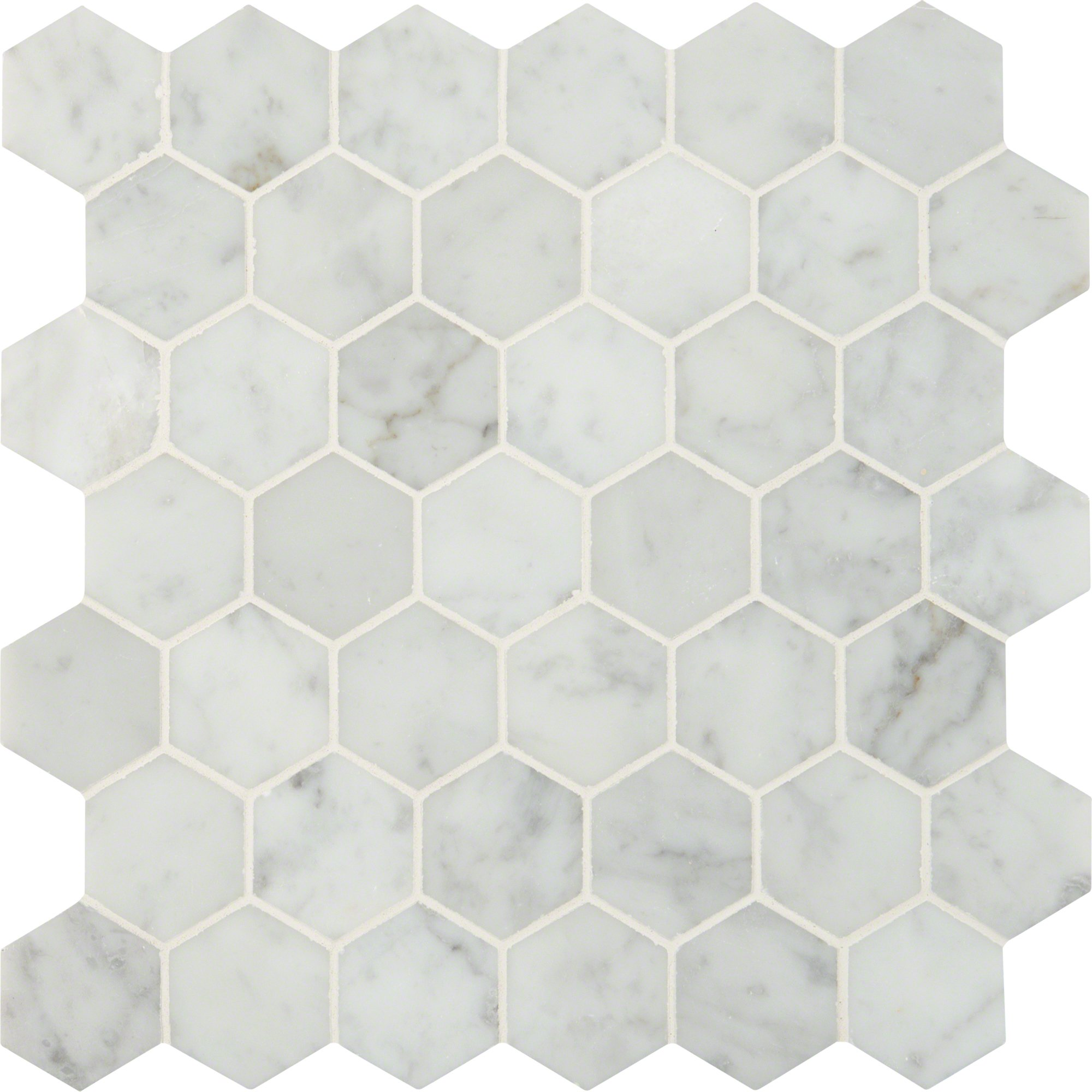 M S International Carrara White Hexagon 12 In. X 10 mm Polished Marble Mesh-Mounted Mosaic Floor & Wall Tile, (10 sq. ft., 10 pieces per case)