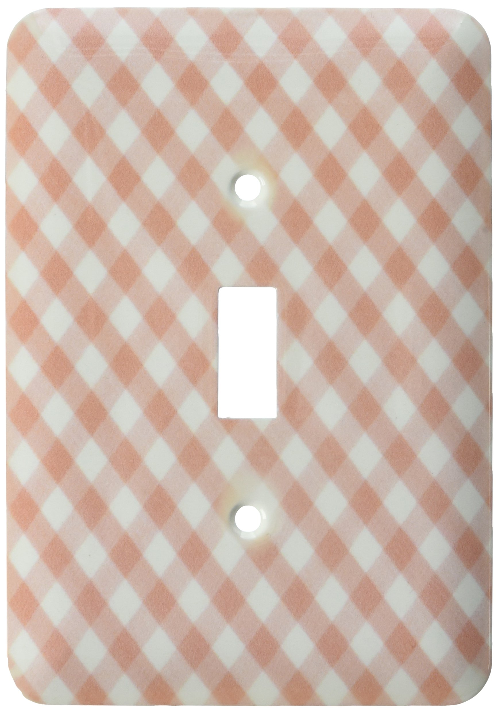 3dRose LLC lsp_113026_1 Brown and White Gingham Pattern Traditional Checkered Rustic Checks Retro Country Kitchen Dining Single Toggle Switch