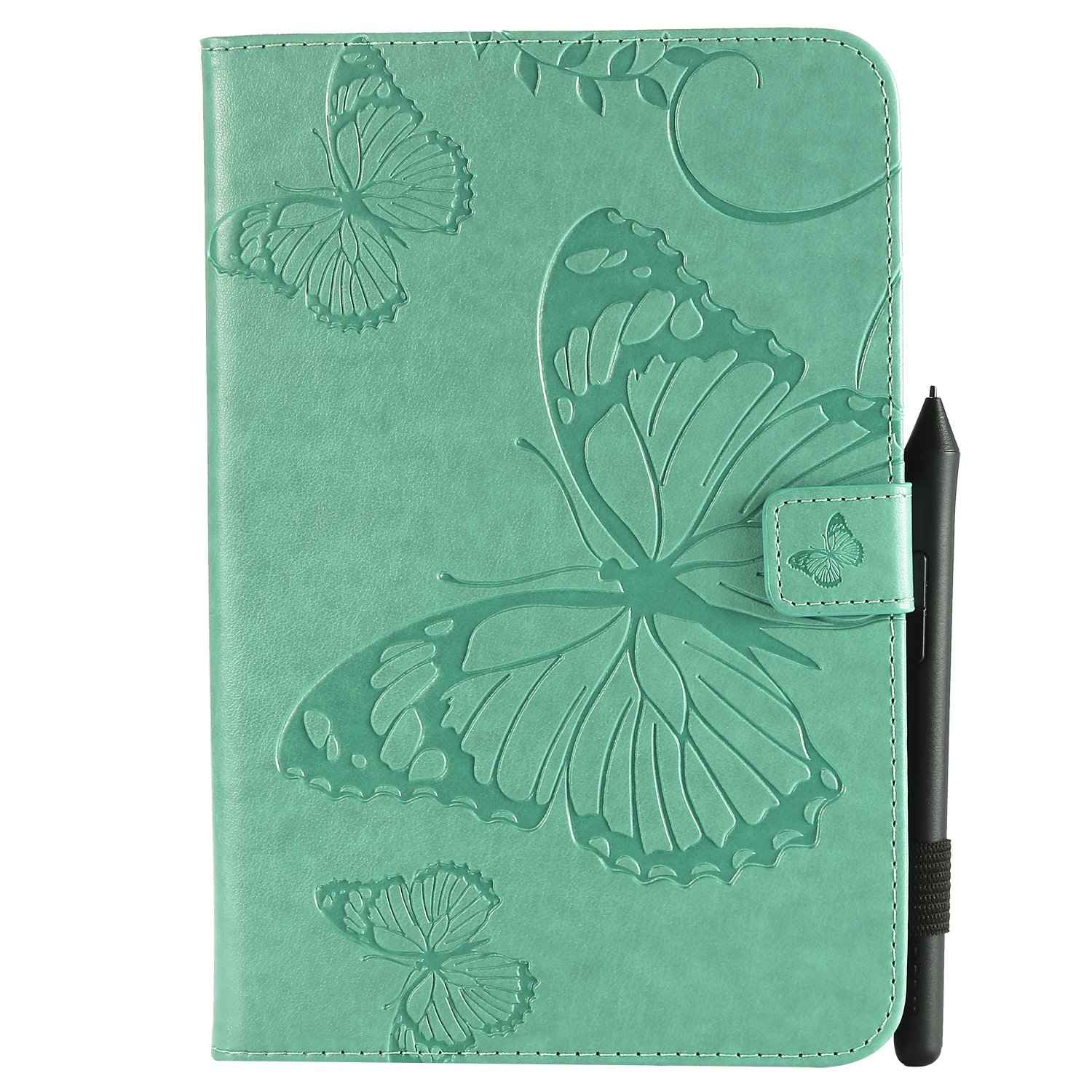 Bear Village iPad Mini 3 Case, Butterfly Embossed Anti Scratch Shell with Adjust Stand, Smart Stand PU Leather Case for Apple iPad Mini 3, Green