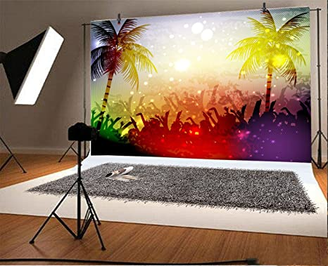 8x6.5ft Watercolor Oil Painting Concert Palm Tree Sea of People Crowded Conditions Colorful Bokeh Backdrop Bridal Wedding Valentines Day Birthday Party Photo Background Portraits