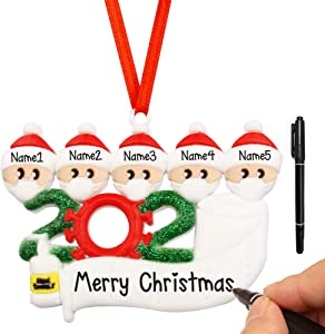 Personalized Family Christmas Tree Ornament, Quarantine Christmas Ornament Kit with Mask, 2020 Christmas Tree Ornaments DIY Home Decor Xmas Gifts (Family of 5)