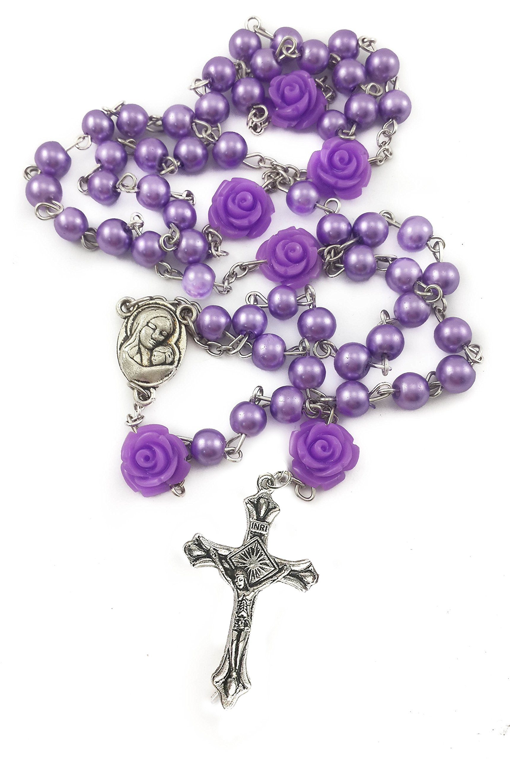 Nazareth Store Catholic Purple Pearl Beads Rosary Necklace 6mm Holy Soil Medal & Cross