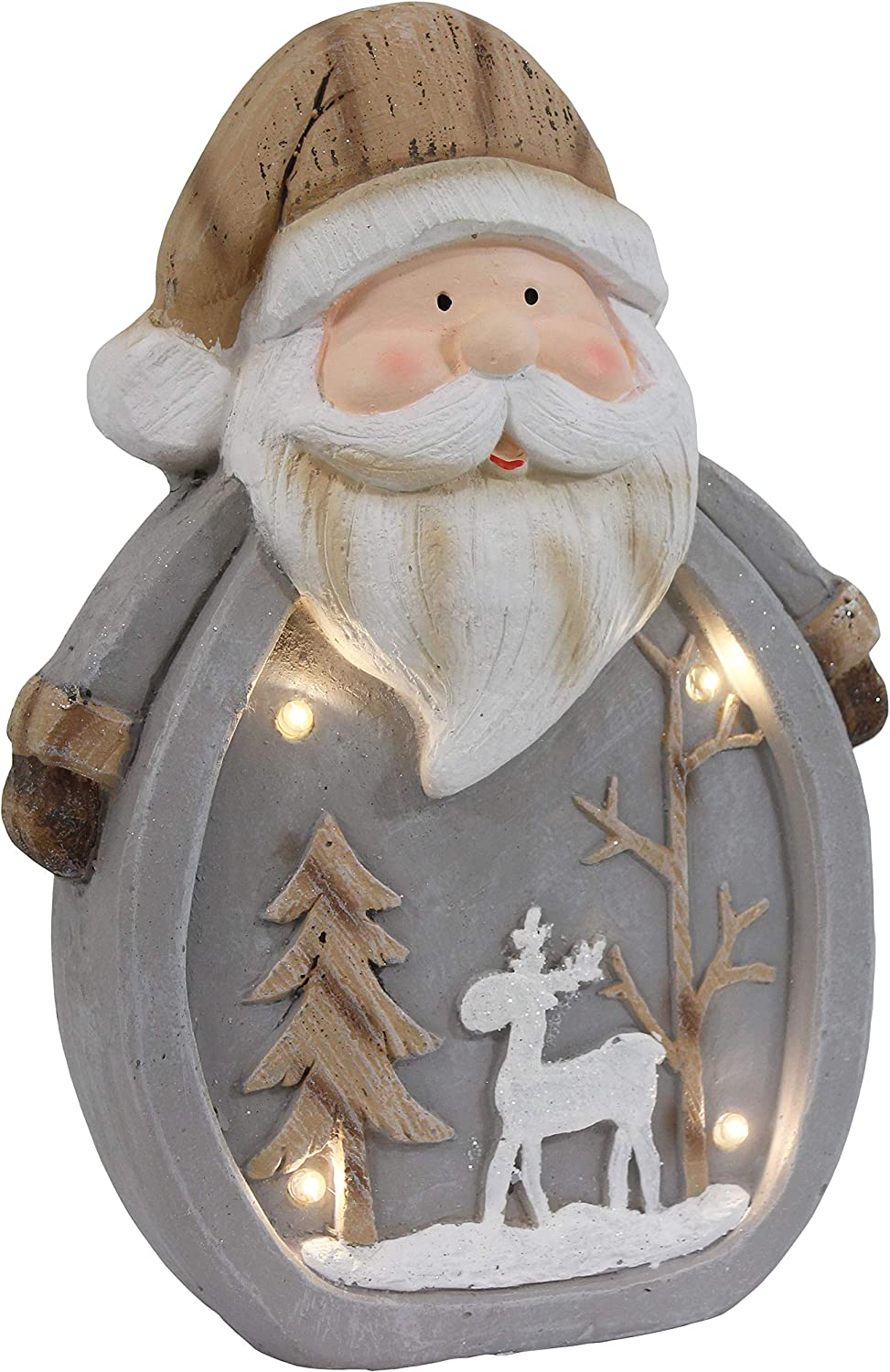 Sunnydaze Santa Claus Indoor Christmas Decoration with LED Lights - Holiday Winter Lighted Statue Figurine for Table, Fireplace Mantle and Shelf - Battery Operated Pre-Lit Accent - 14-Inch