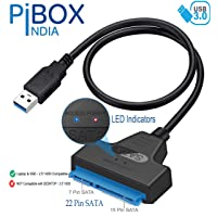 "PiBOX India - USB 3.0 to 2.5"" SATA III Hard Drive Adapter 0.5 M Long Cable w/UASP – SATA to USB 3.0 Converter for SSD/HDD - Hard Drive Adapter Cable - 50 cm -ASM1153e Chipset - 2.5 inch HDD"