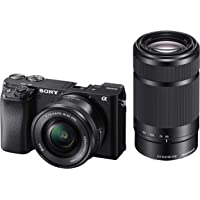 Sony Alpha ILCE-6100Y 24.2MP Mirrorless Digital SLR Camera with 16–50 mm and 55–210 mm Zoom Lenses (APS-C Sensor, Fastest Auto Focus, Real-time Eye AF and Real-time Tracking)