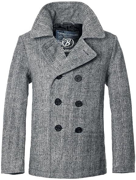Brandit Men's Pea Coat Anthracite Herringbone at Amazon Men's ...