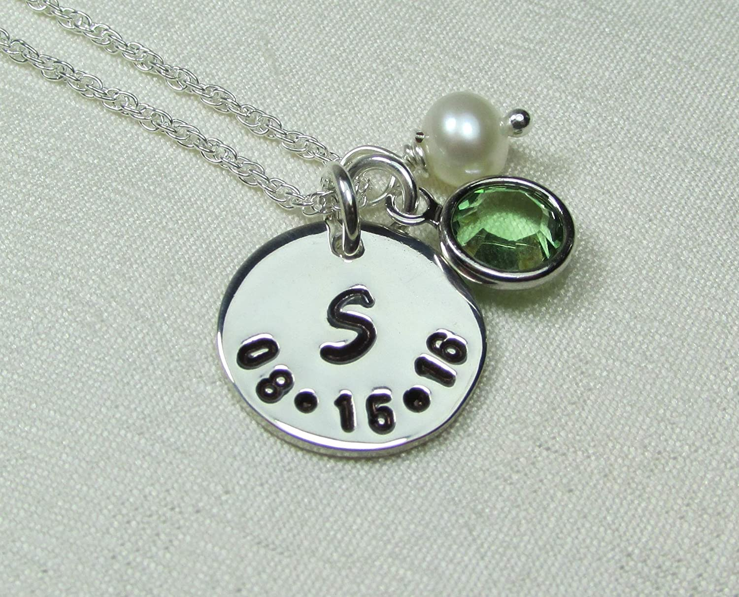 Personalized Necklace Sterling Silver Initial Necklace with Birthstone Necklace Mothers Necklace Personalized Jewelry Monogram Necklace