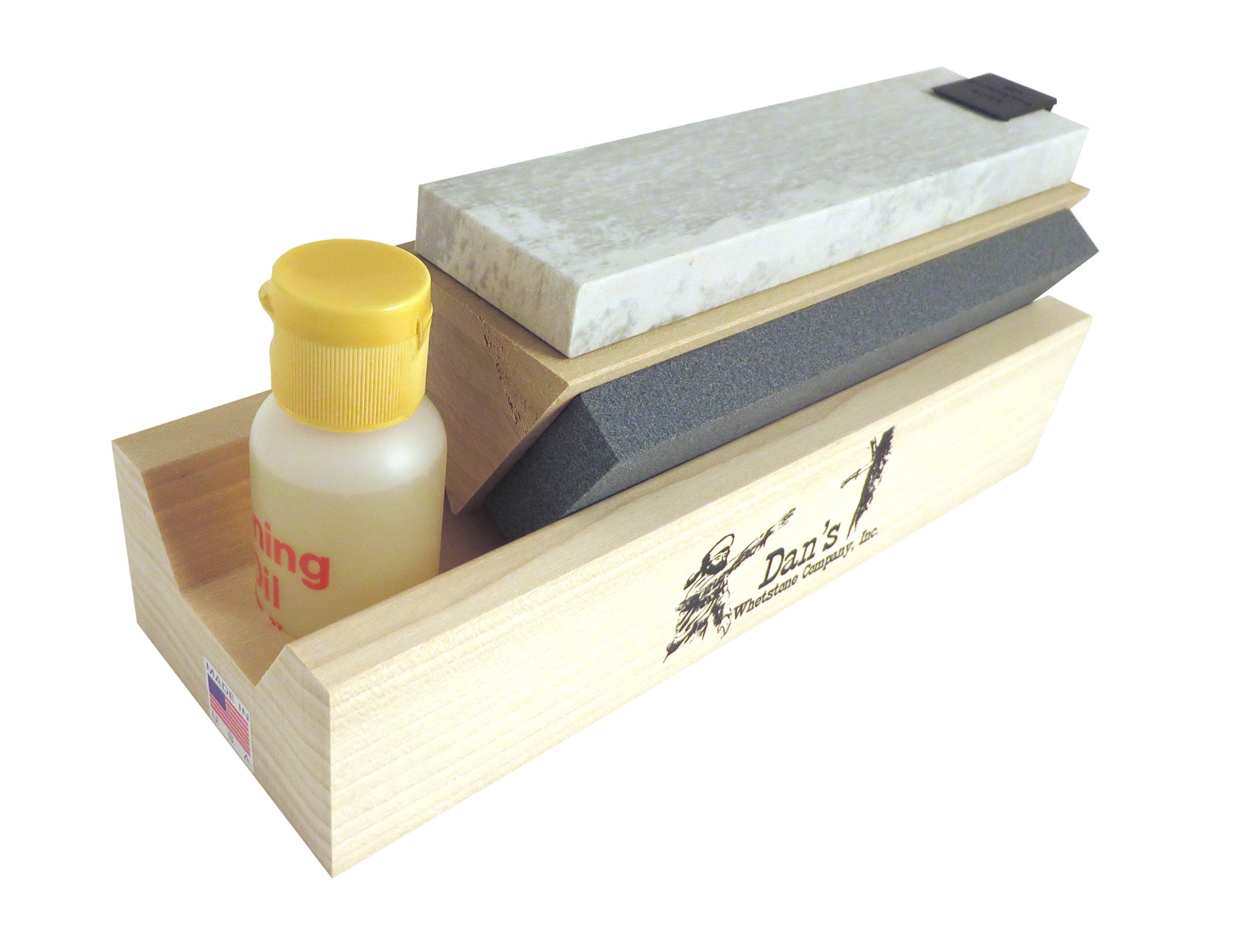 Genuine 3 Stone Arkansas 6'' Full Size Tri Hone Whetstone Knife Sharpening System with Silicon Carbide (Coarse), Soft (Medium) and Hard (Fine) Stones 6'' X 1'' X 1/4'' TRI-6