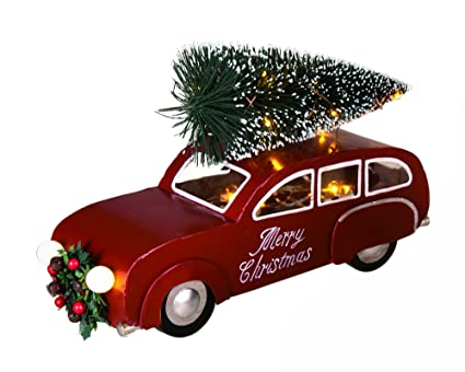 LED Light Up Merry Christmas Vintage Metal Car With Lighted Bottle Brush Tree Holiday