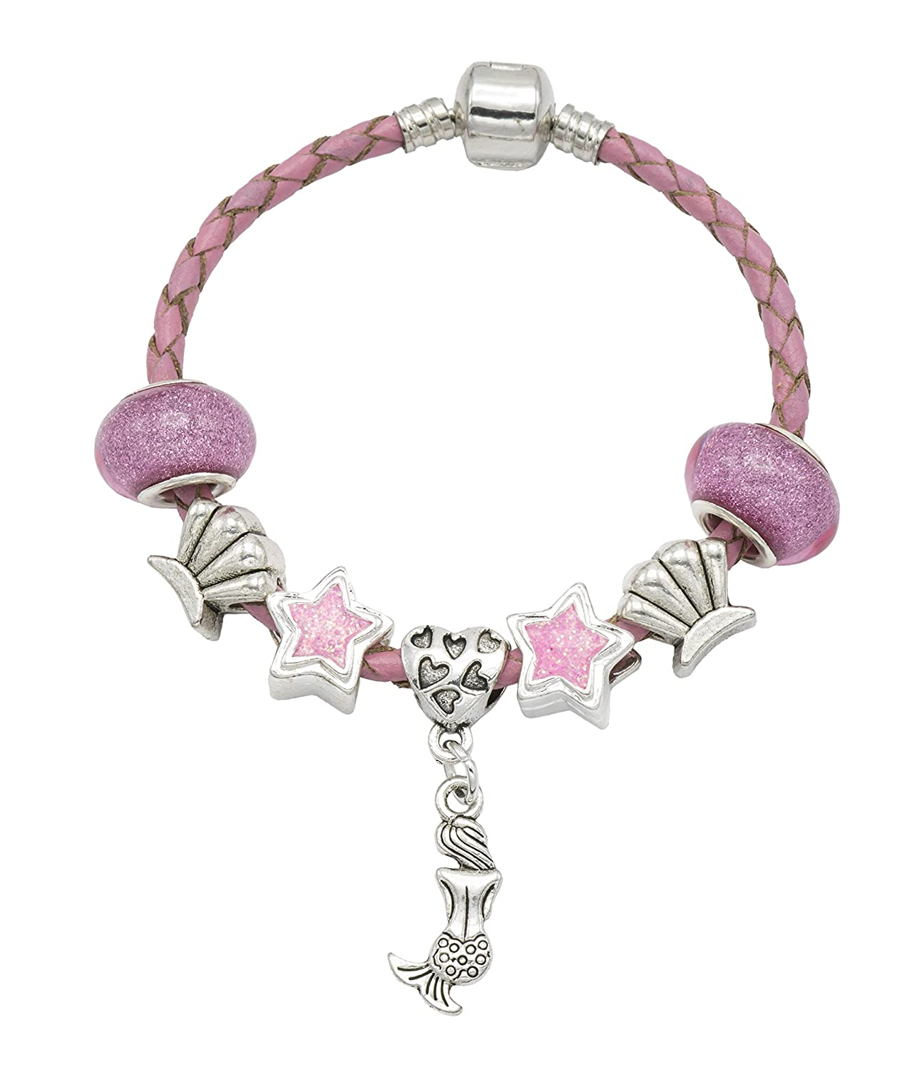 'My Little Mermaid' Pink Leather Birthday Charm Bracelet for Girls Presented In High Quality Gift Pouch Jewellery Hut BRMYLITTLEMERMAIDPINK2