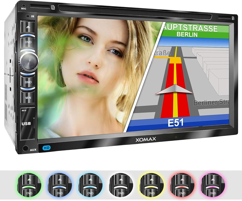 XOMAX XM-2DN6906 Radio de Coche con Mirrorlink I Navegador GPS I Software Navi Incl. Europa Mapas I Manos Libres Bluetooth I Pantalla táctil 18cm I Lector DVD CD I SD I USB I Aux I 2 DIN