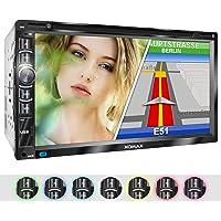 XOMAX XM-2DN6906 Autoradio mit GPS Navigation I Navi Software inkl. Europa Karten I Bluetooth Freisprecheinrichtung I 18cm Touchscreen Bildschirm I DVD CD Player I SD I USB I Aux I 2DIN