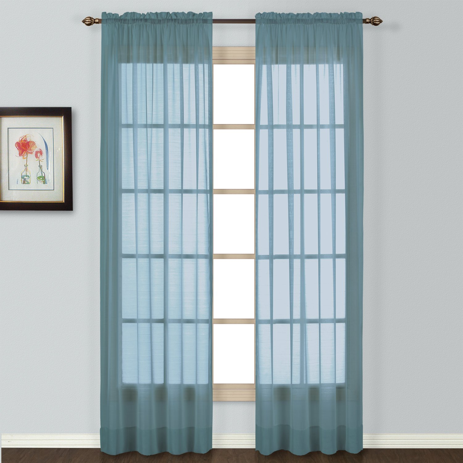 American Curtain and Home Semi-Sheer Window Curtain, 54-Inch by 63-Inch, Blue