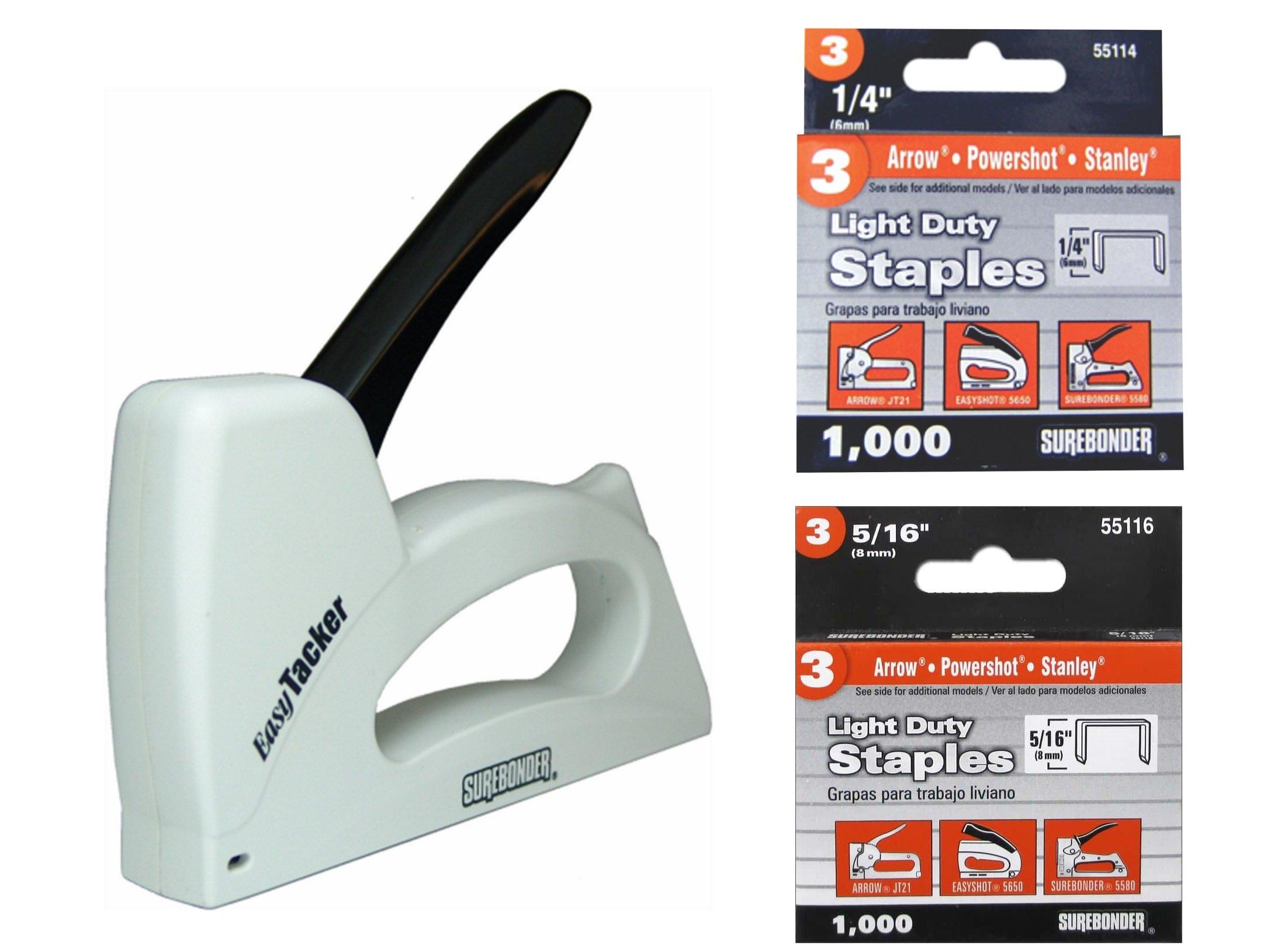 """Surebonder 5525 Plastic Light Duty 1/4"""" - 3/8"""" Stapler Bundle with No. 3 Light Duty ¼"""" Leg Length (55114) and 5/16"""" Leg Length (55116), 0.441"""" Crown Staples, Arrow JT21 Type, 1000 Count Each"""