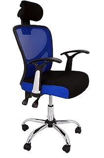 La Silla Española Ronda Silla de Oficina con Reposacabezas, Poliéster y Rejilla, Azul,