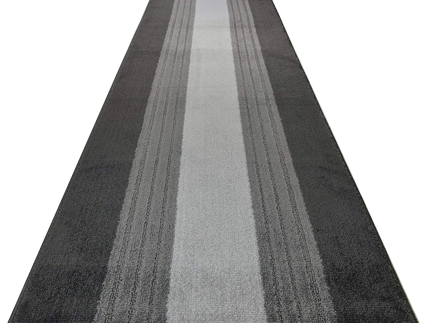 ORFA HOME Custom Cut Hallway Runner Rug, Slip Resistant, 31 Inch Wide X Your Choice of Length, Lines Anthracite, 31 Inch X 11 feet