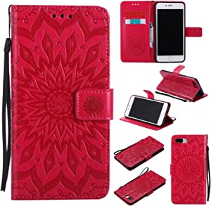 iPhone 8 Plus Case,iPhone 7 Plus Wallet Case, Sun Pattern Embossed PU Leather Magnetic Flip Cover Card Holders & Hand Strap Wallet Purse Case for iPhone 7 Plus / 8 Plus [5.5 Inch] - Red