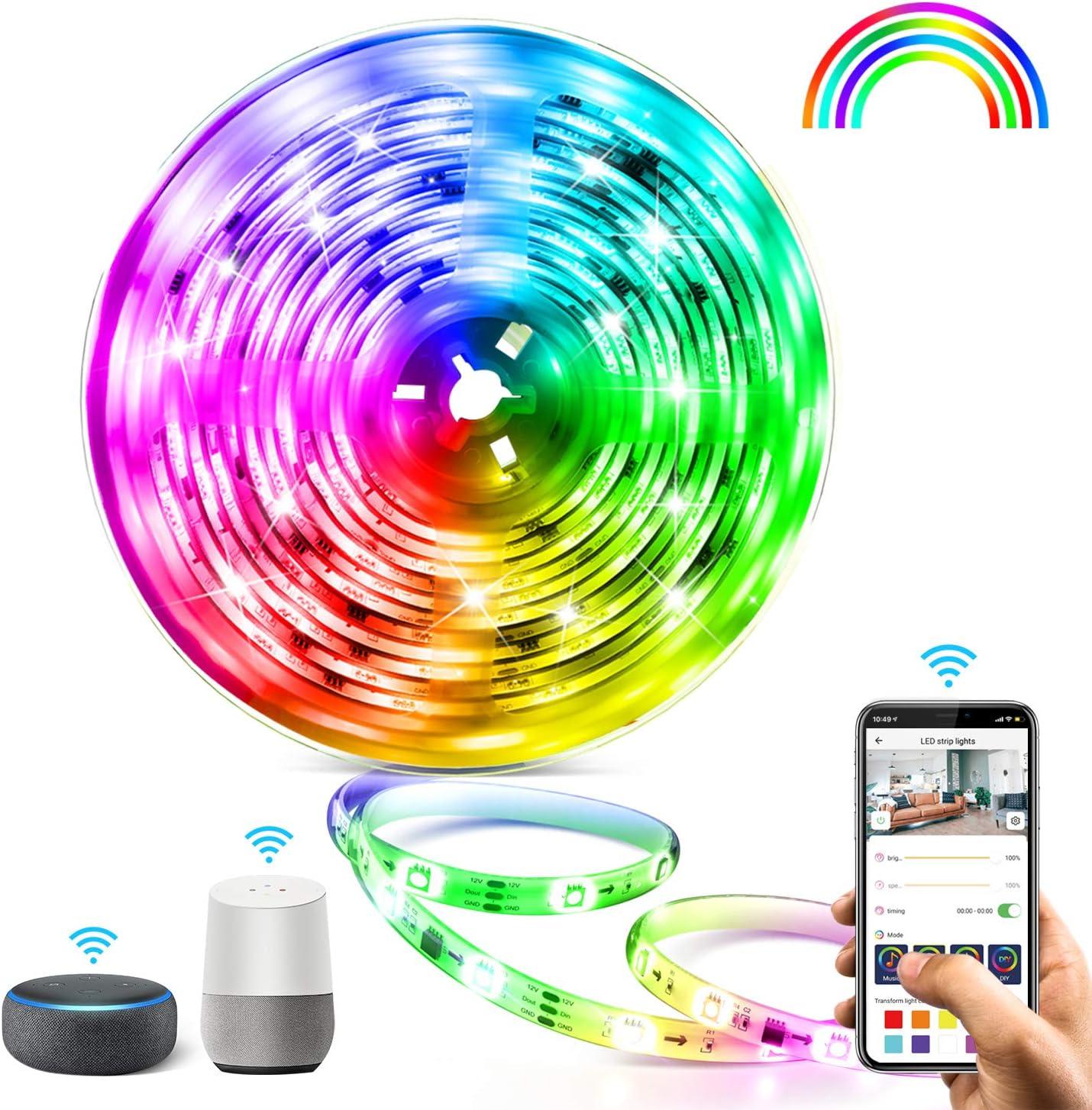 5M WIFI Tira LED RGB Aerb, Luces LED Smart de 16 millones de colores, Sincroniza con la Música, Control de voz, Program Persanalizado, Compatibles con Alexa y Google Assitant, Echo, Para Decoración