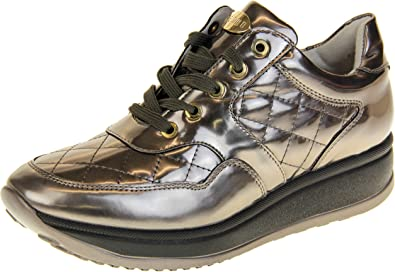 Keddo Womens Leather Shiny Casual Flat