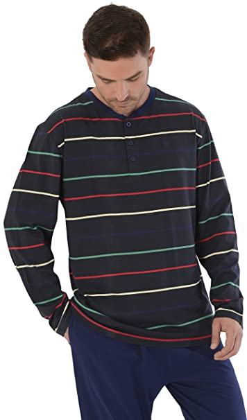 Pijama de Caballero Largo Moderno a Rayas Finas/Ropa de Dormir para Hombre - Punto